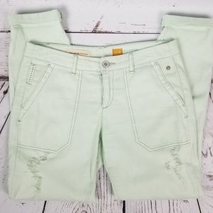 Anthropologie Hyphen Fit Mint Distressed Pants